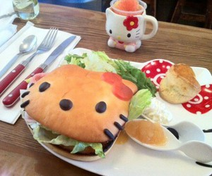 hello kitty, food, and hamburger image