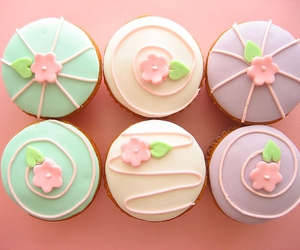 cupcake, cute, and flowers image