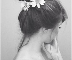 black & white, flowers, and girly image