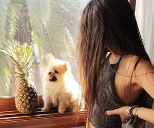 girl, dog, and style image