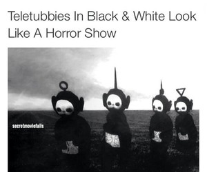 black&white, childhood, and teletubbies image