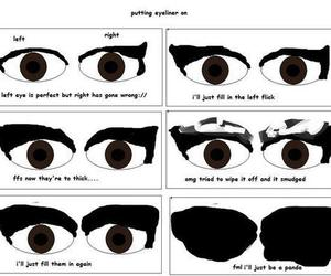 eyeliner, eyes, and funny image