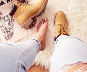 timberland, jeans, and n image