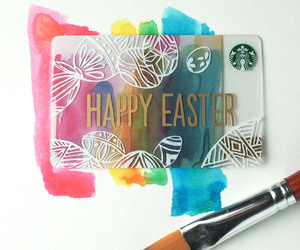 artistic, starbucks card, and happy easter image