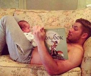 baby, father, and reading image