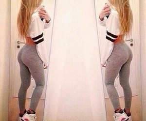 blond hair, legging, and sporty outfit image
