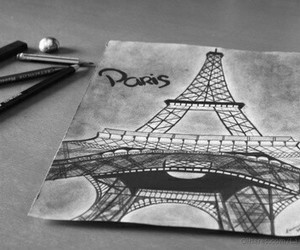 paris, black and white, and drawing image