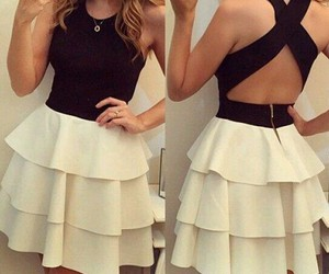 black & white, outfit, and pretty girl image