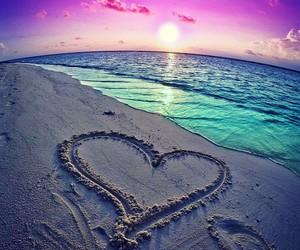 heart, beach, and sea image