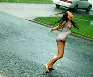 rain, girl, and dance image