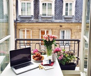 flowers, breakfast, and paris image