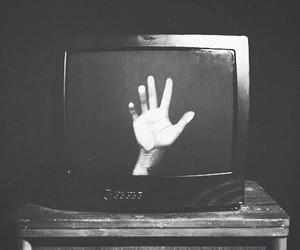 hand, tv, and grunge image