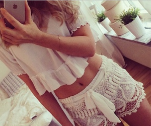 white, shorts, and lace image