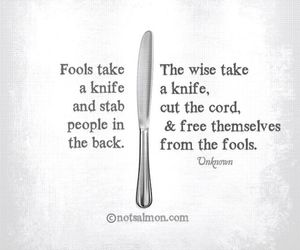 quote, wise, and knife image
