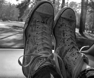 bands, black and white, and chucks image