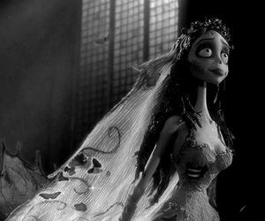 black and white, corpse bride, and dark image