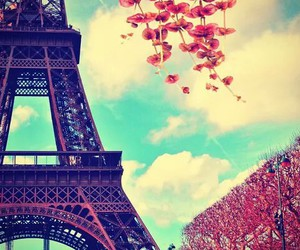 flowers, paris, and tower eiffel image