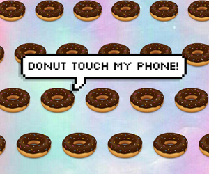 donuts, phone, and touch image