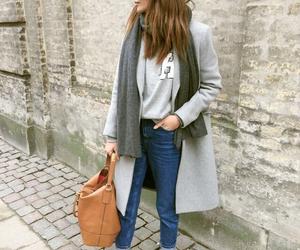 autumn, fashion, and grey coat image