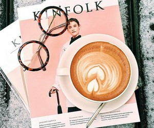 coffee, magazine, and pink image