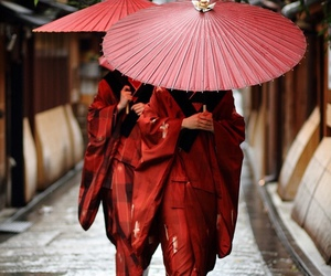 red, japan, and kimono image