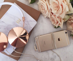 gold, iphone, and roses image