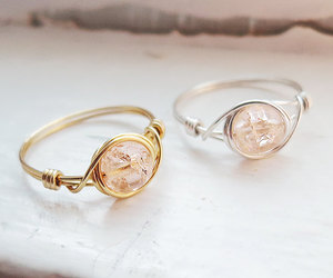 champagne, jewelry, and peach image