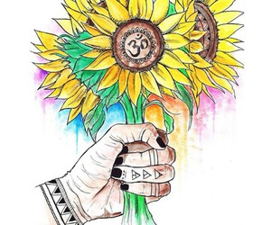 sunflower, background, and drawing image