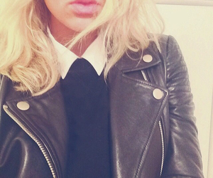 blonde, girl, and leather jacket image