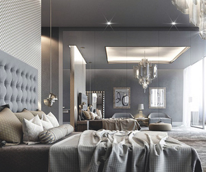 bedroom, luxury, and grey image