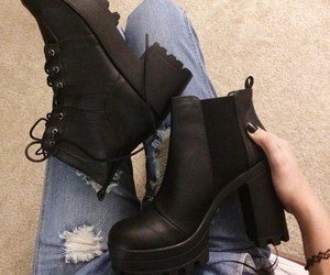 black boots, grunge, and black nails image
