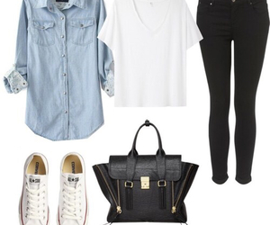 outfit, converse, and bag image