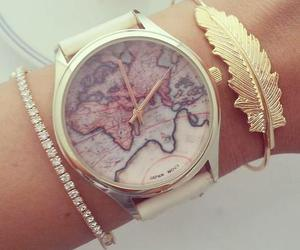 watch, gold, and world image