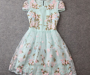 dress, floral, and tattoo image
