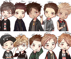 exo, call me baby, and chibi image