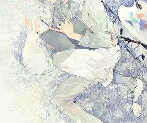 anime, boy, and rabbit image