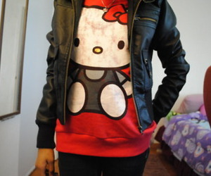 hello kitty, jacket, and leather image
