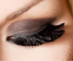 eye, feather, and black image