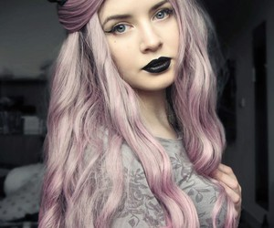 goth, beautiful girl, and pastel hair image