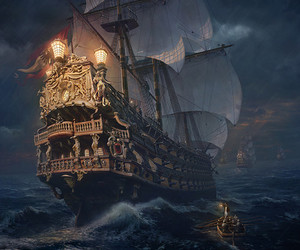 pirate, sea, and ship image