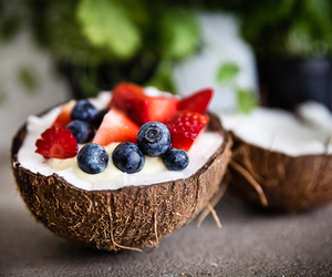 food, coconut, and fruit image
