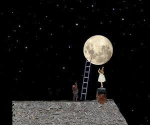moon, stars, and child image