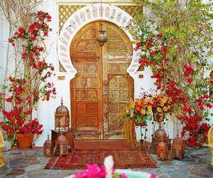morocco, door, and flowers image