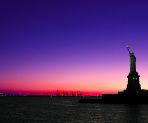 new york, sunset, and statue of liberty image