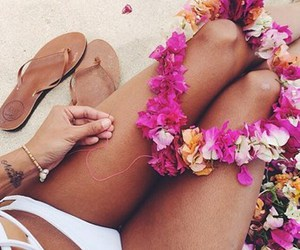 flowers, legs, and girl image
