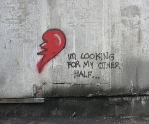 love, heart, and half image