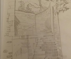 drawing, illustration, and landscape image
