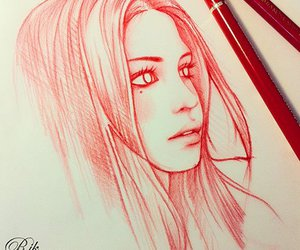 drawing, art, and red image