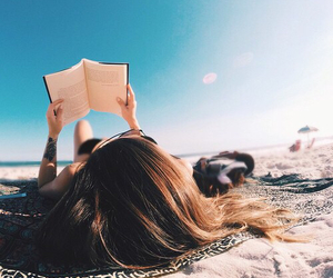 beach, book, and fun image