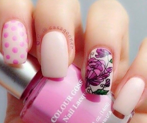 nails, nail art, and pink image
